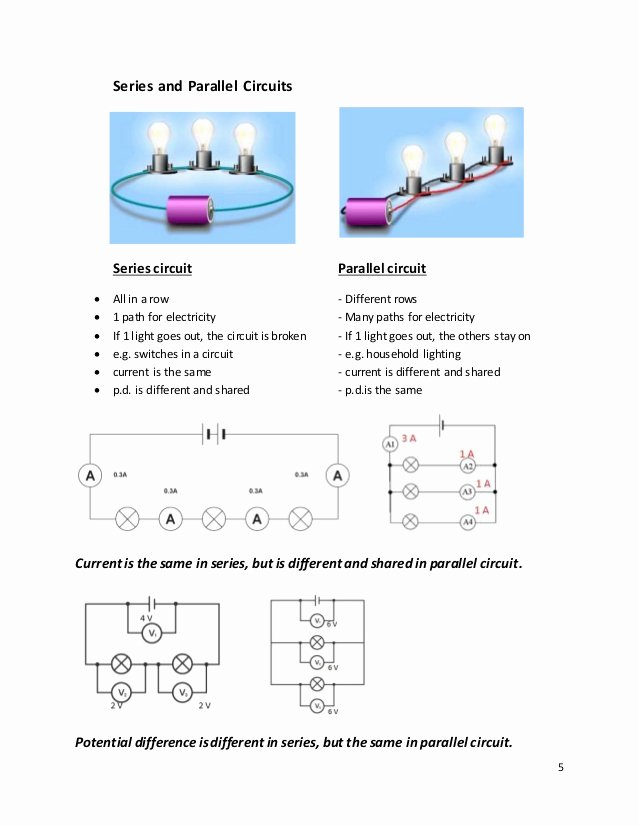 Series and Parallel Circuits Worksheet Elegant Current and Voltage In Series and Parallel Worksheet