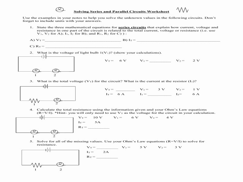 Series and Parallel Circuits Worksheet Elegant Series and Parallel Circuits Worksheet with Answers Free