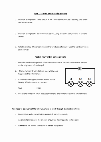 Series and Parallel Circuits Worksheet Unique Current and Volatge In Series and Parallel Circuit by Miss