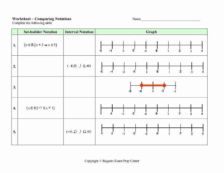 Set Builder Notation Worksheet New Interval Notation Worksheet