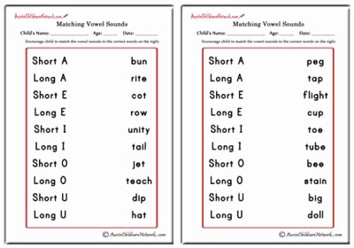 Short and Long Vowel Worksheet New Matching Vowel sounds Aussie Childcare Network