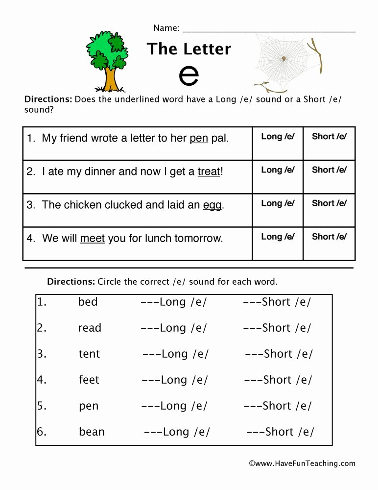 Short and Long Vowel Worksheet New Short Vowel E and Long Vowel E Worksheet