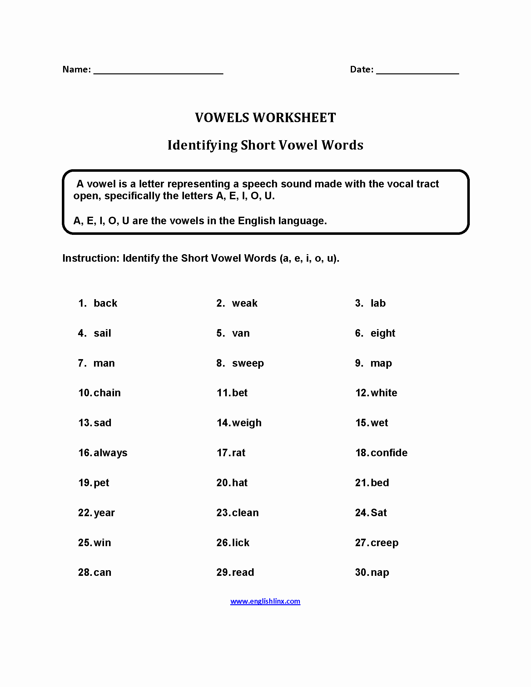 Short and Long Vowels Worksheet Best Of Short Vowel Words Worksheets Long and Short