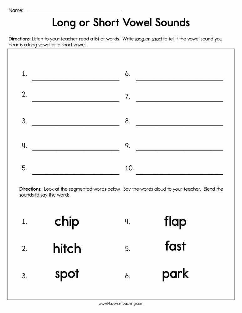Short and Long Vowels Worksheet Inspirational Long Vowels Worksheets