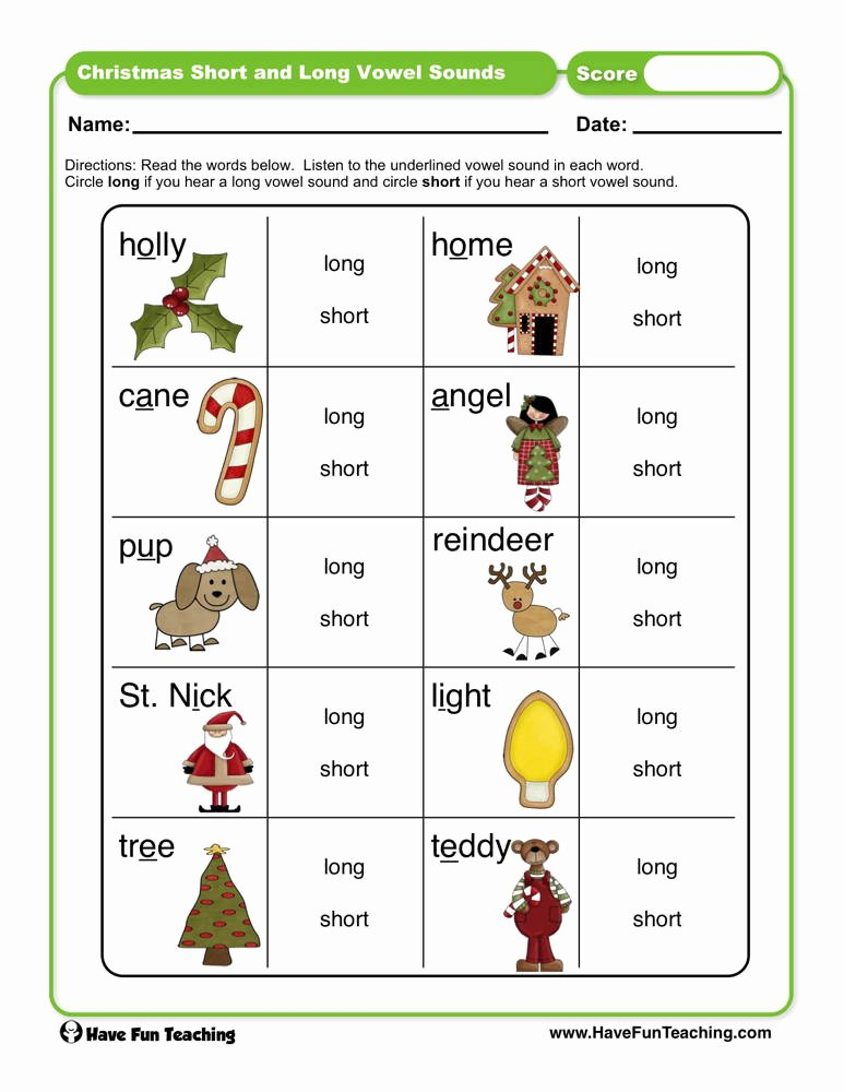 Short and Long Vowels Worksheet Lovely Christmas Short and Long Vowel sounds Worksheet
