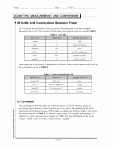 Si Unit Conversion Worksheet Fresh Si Units and Conversions Between them 9th 12th Grade