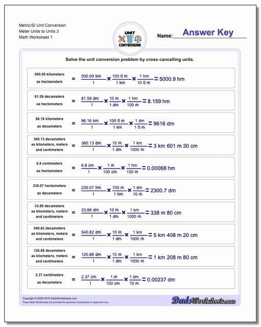 Si Unit Conversion Worksheet Unique Metric Si Length