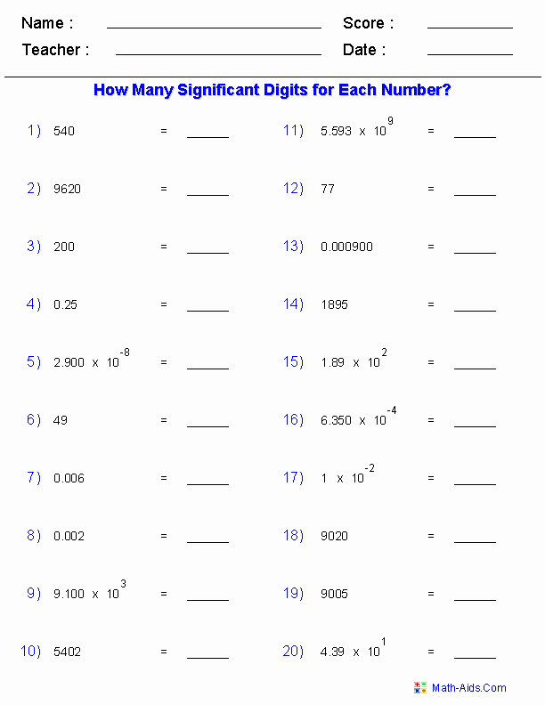 Sig Figs Worksheet with Answers Elegant Significant Figures Worksheets