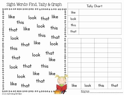 Sight Word Like Worksheet Fresh Freebie Sight Words Find Tally & Graph 3 Pages that