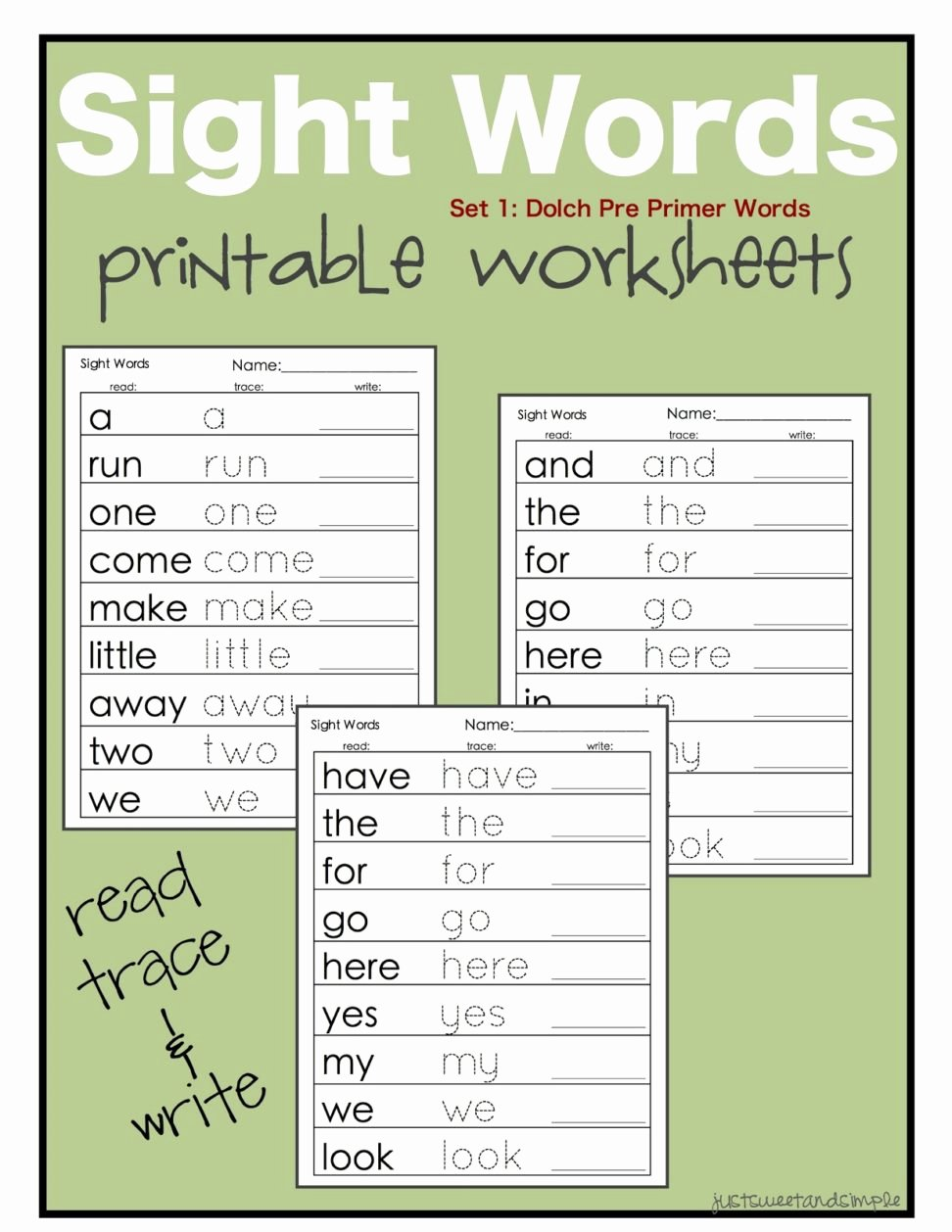 Sight Words Worksheet for Kindergarten Awesome Free Printable Kindergarten Sight Words Worksheets