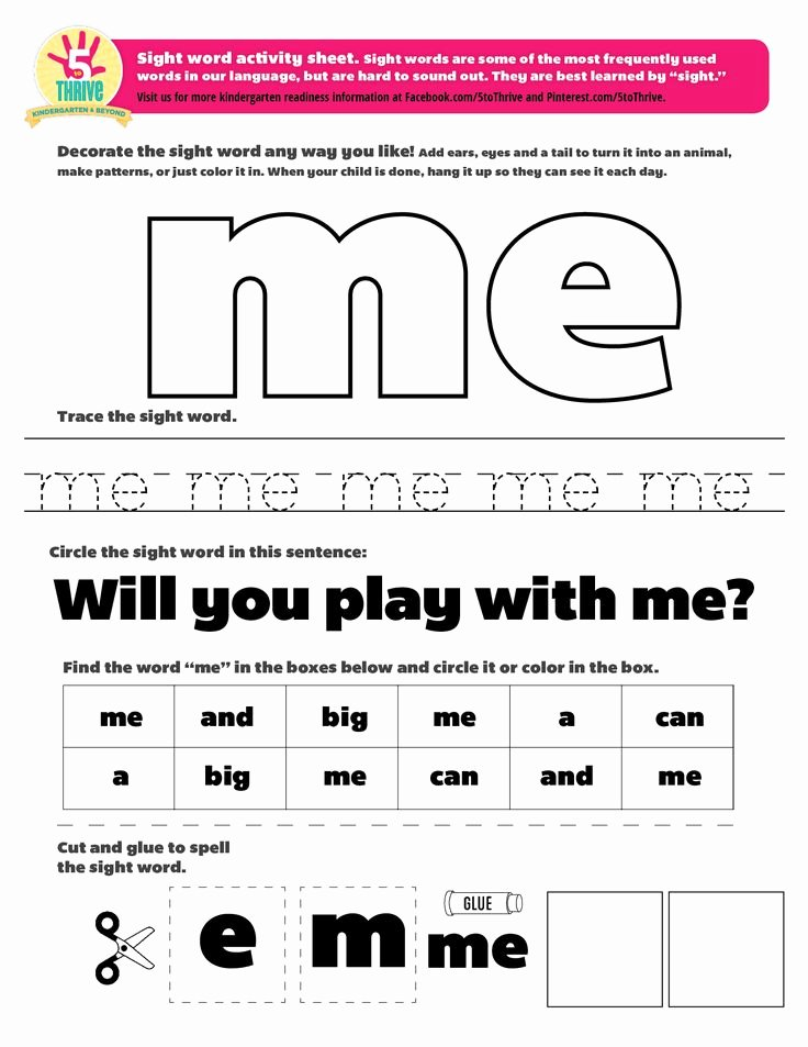 "Sight Words Worksheet for Kindergarten Awesome the Sight Word This Week is ""me"" Sight Words are some Of"