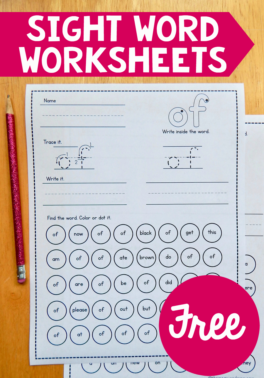 Sight Words Worksheet for Kindergarten Beautiful Free Sight Word Worksheets