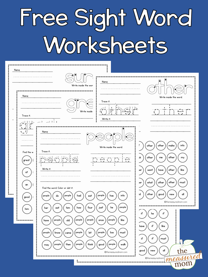 Sight Words Worksheet for Kindergarten Beautiful Free Sight Word Worksheets the Measured Mom