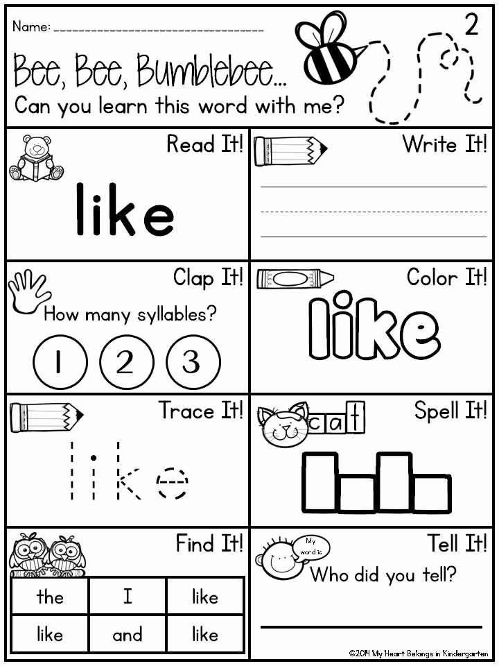 Sight Words Worksheet for Kindergarten Beautiful Journey Into Reading 88 Sight Word Printables