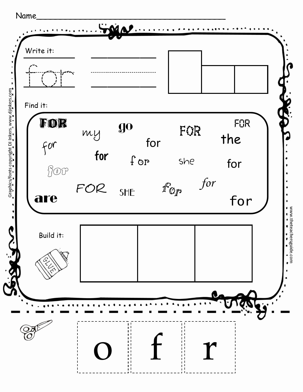 Sight Words Worksheet for Kindergarten Beautiful Kindergarten Sight Word Printouts From the Teacher S Guide