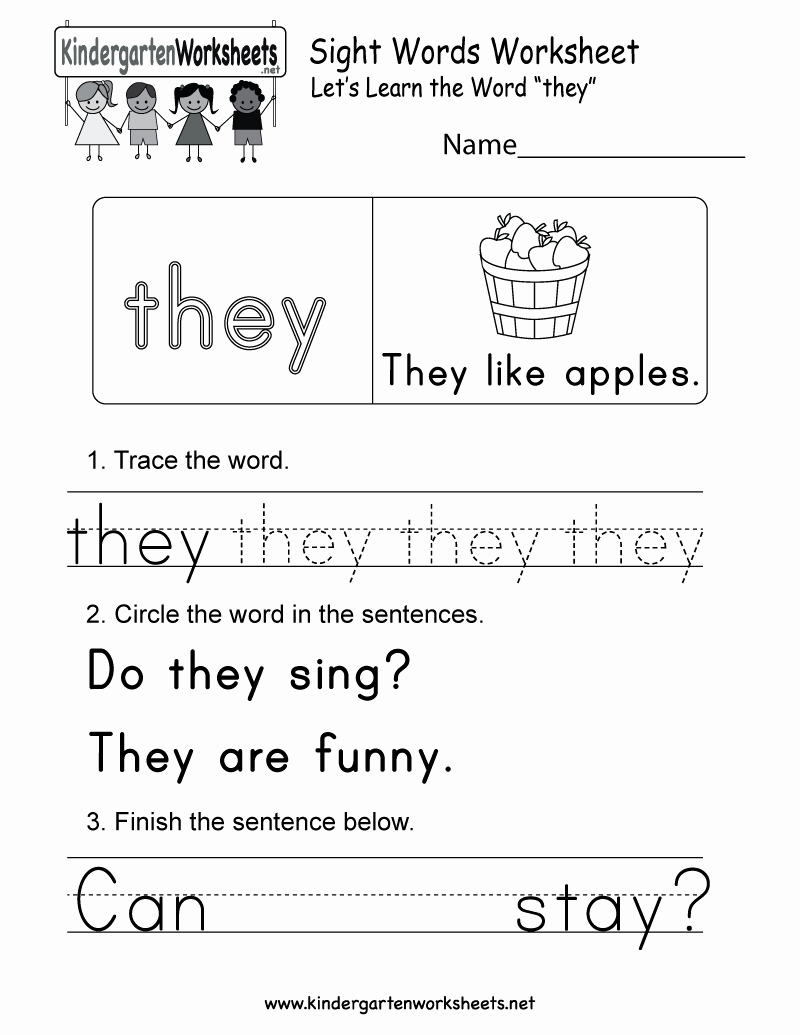 Sight Words Worksheet for Kindergarten Beautiful Sight Word they Worksheet Free Kindergarten English