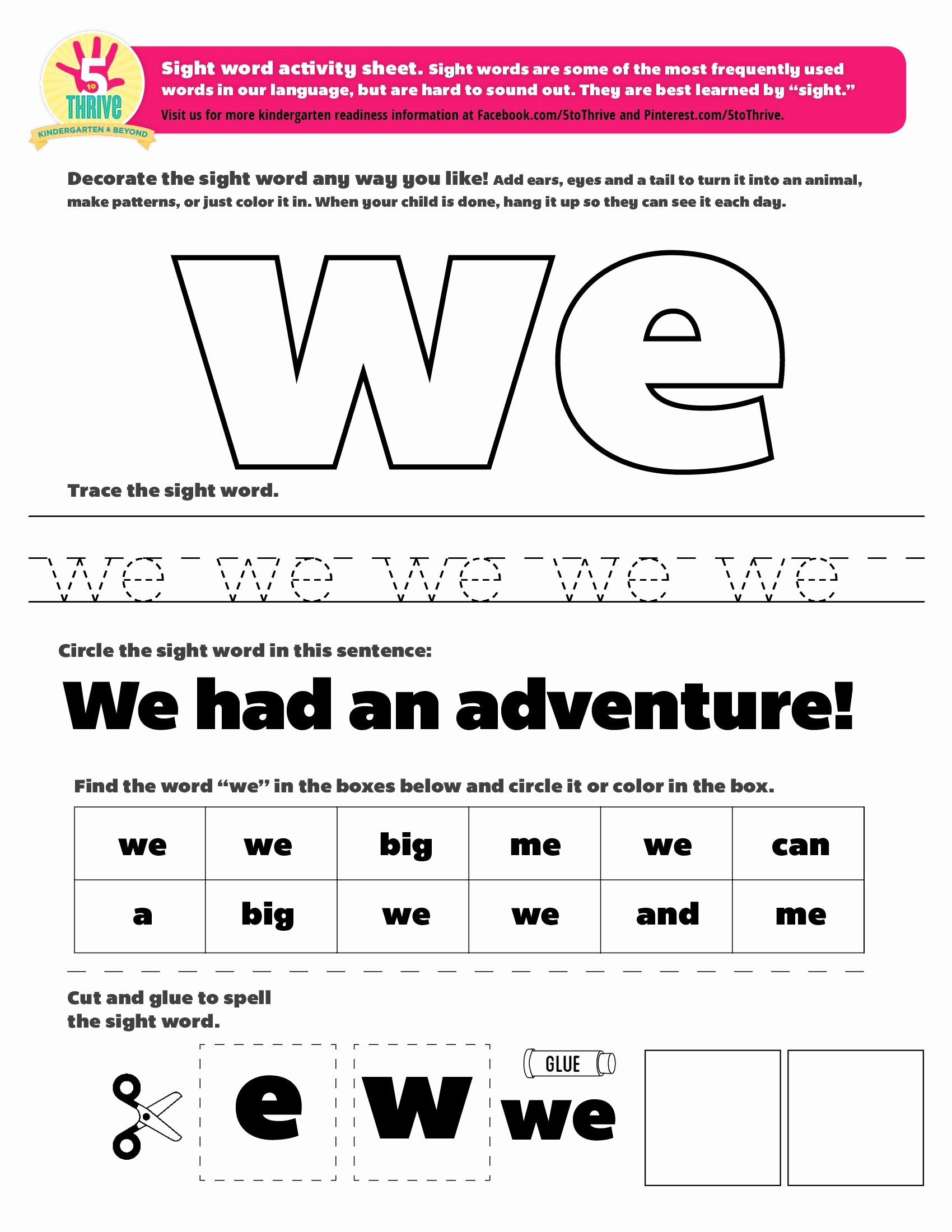 "Sight Words Worksheet for Kindergarten Beautiful the Sight Word This Week is ""we"" Sight Words are some Of"