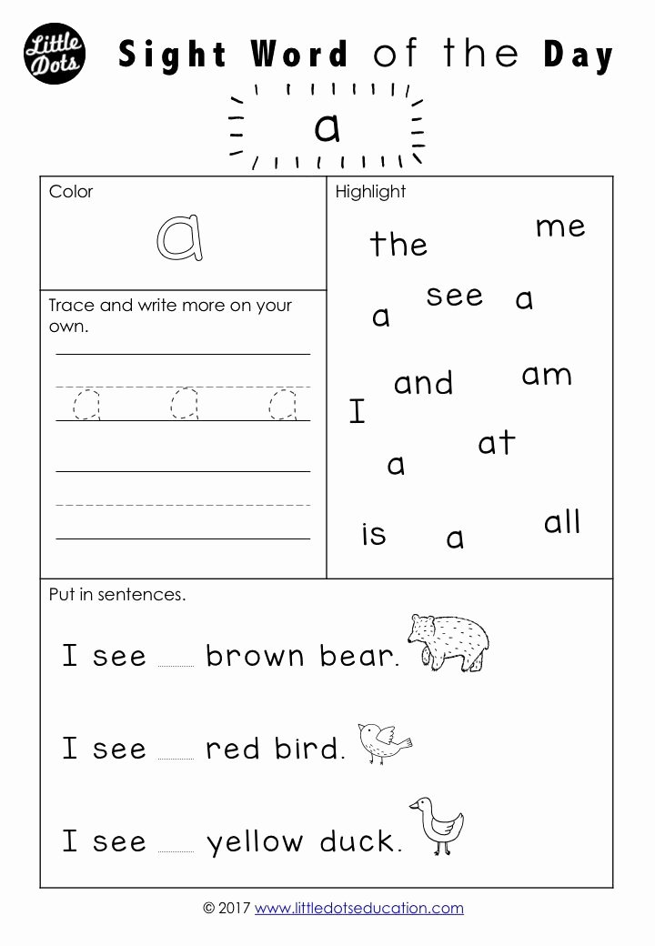 Sight Words Worksheet for Kindergarten Best Of Free Dolch Sight Words Worksheet for Pre K or Pre Primer