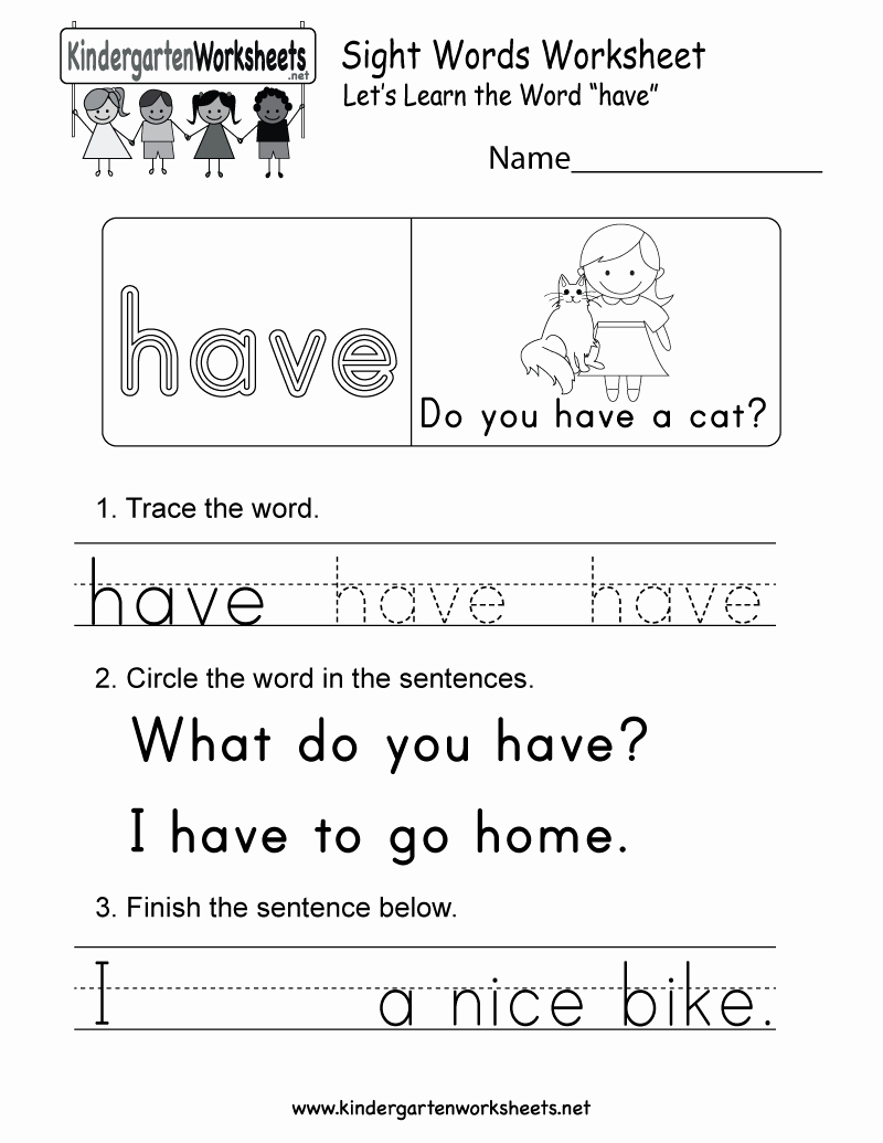 Sight Words Worksheet for Kindergarten Best Of Sight Word Have Worksheet Free Kindergarten English