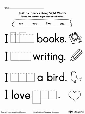Sight Words Worksheet for Kindergarten New Preschool and Kindergarten Worksheets School