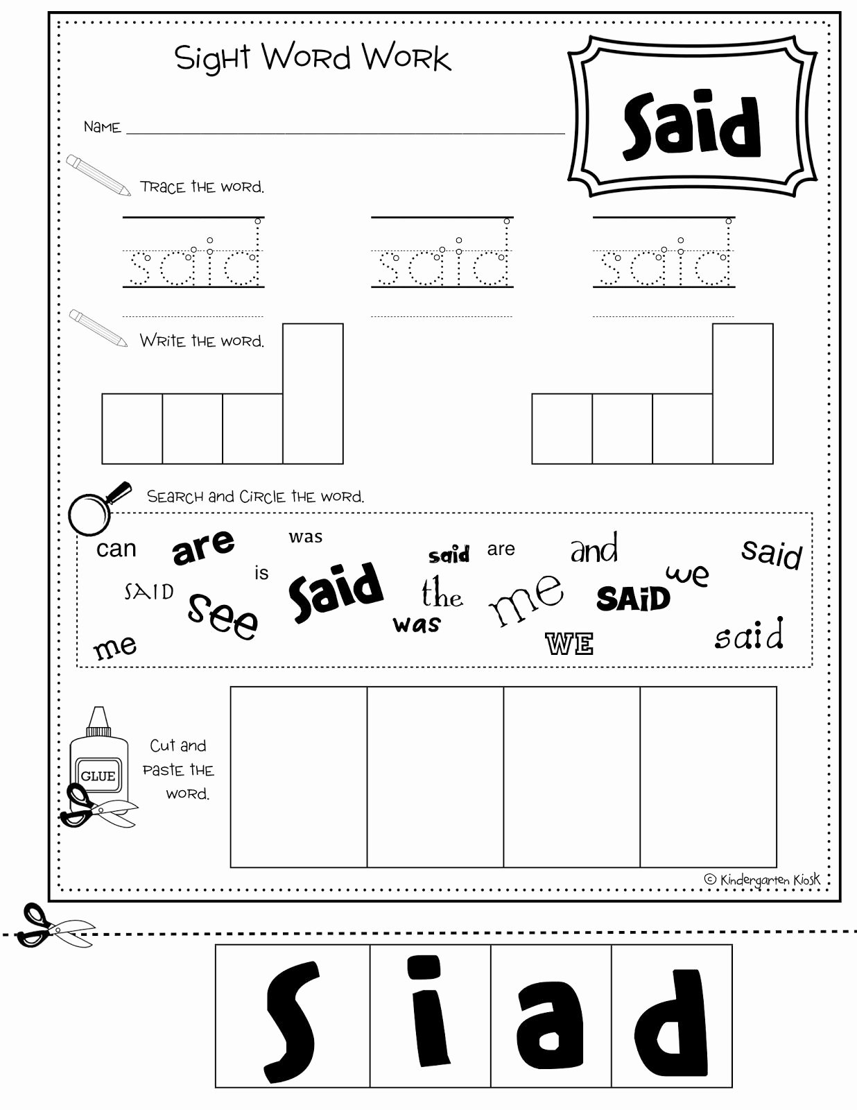 Sight Words Worksheet for Kindergarten Unique Make Sight Word Worksheets