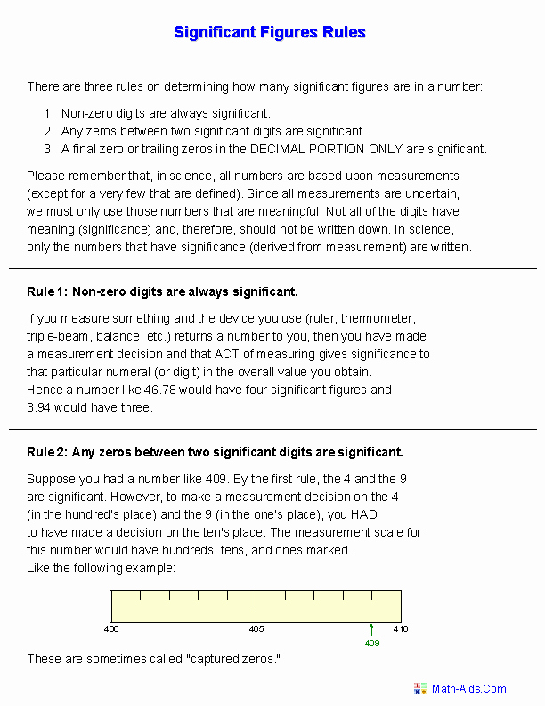 Significant Figures Worksheet Answers Beautiful Significant Figures Handout Worksheets