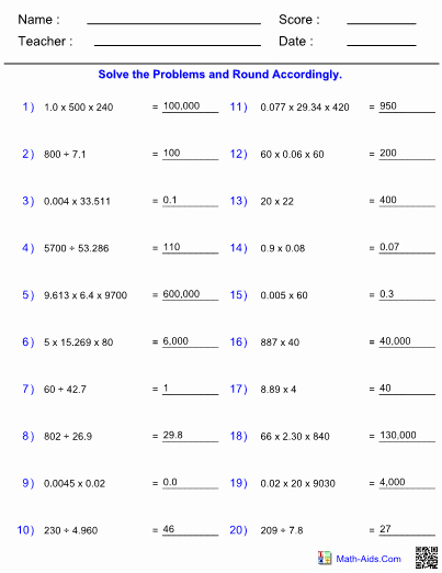Significant Figures Worksheet Answers Best Of Multiplying Dividing Significant Figures Worksheet