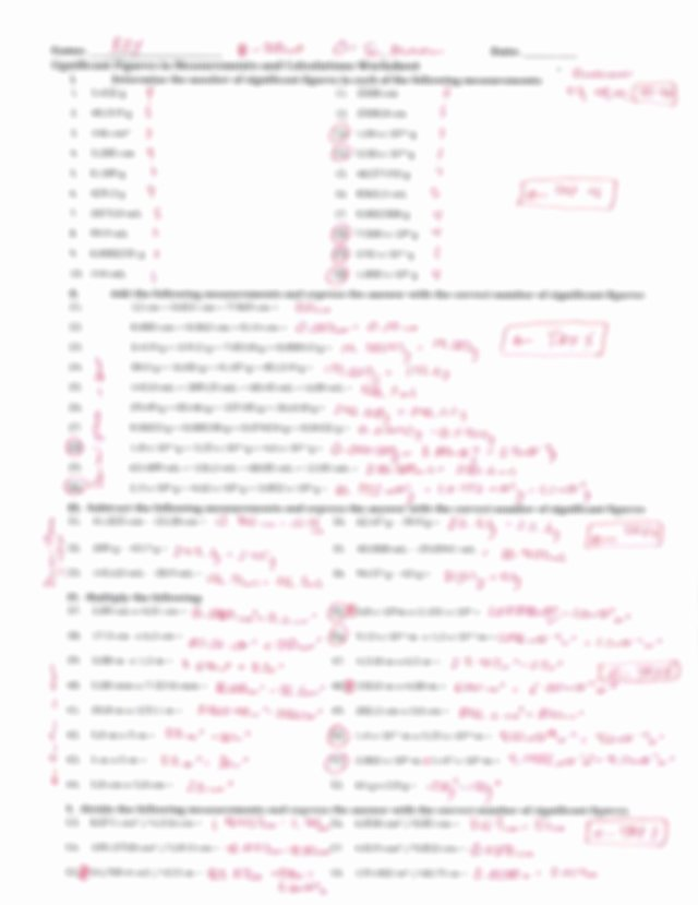 Significant Figures Worksheet Chemistry Unique Significant Figures In Measurements and Calculations