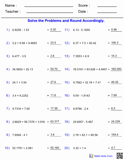 Significant Figures Worksheet with Answers Inspirational Adding Subtracting Significant Figures Worksheet