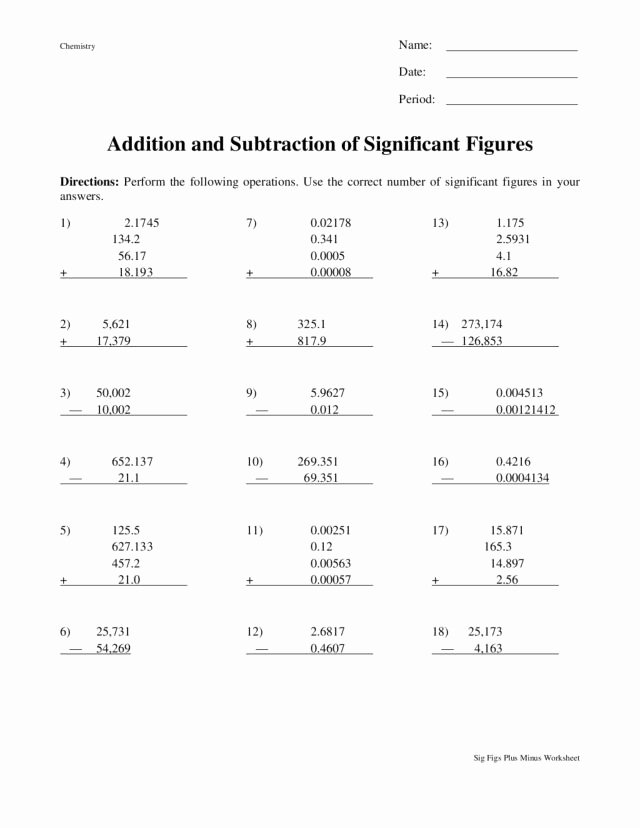 Significant Figures Worksheet with Answers Luxury Addition and Subtraction Of Significant Figures Worksheet