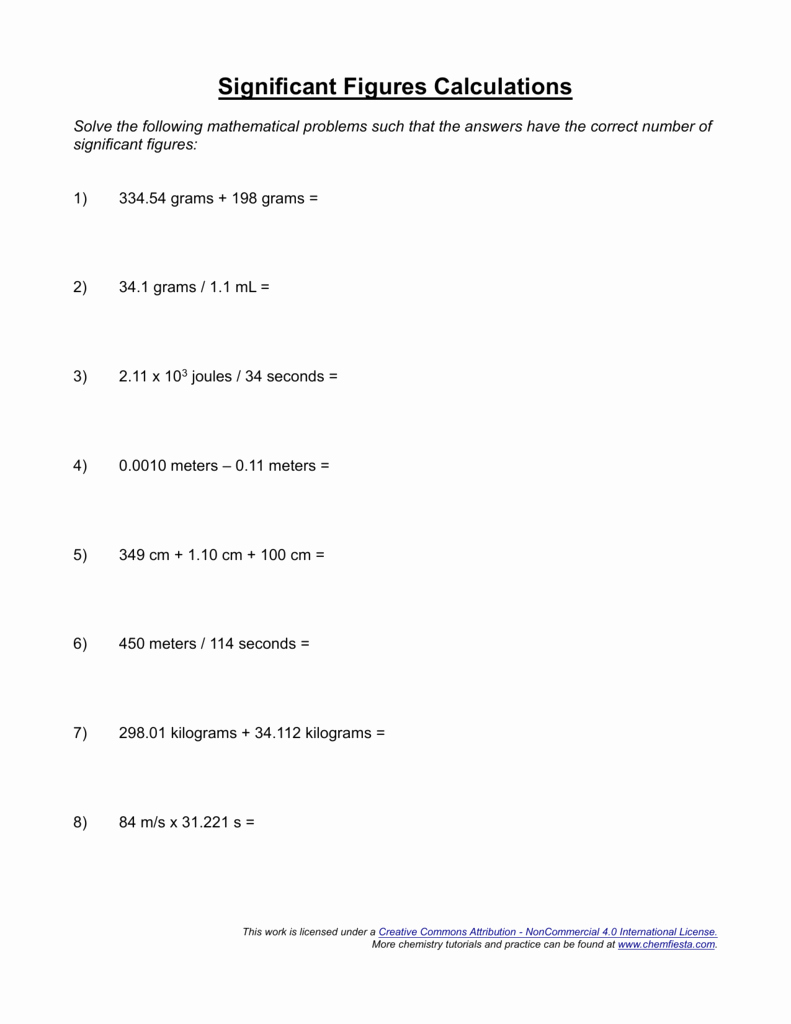 Significant Figures Worksheet with Answers New Significant Figures Calculations Worksheet