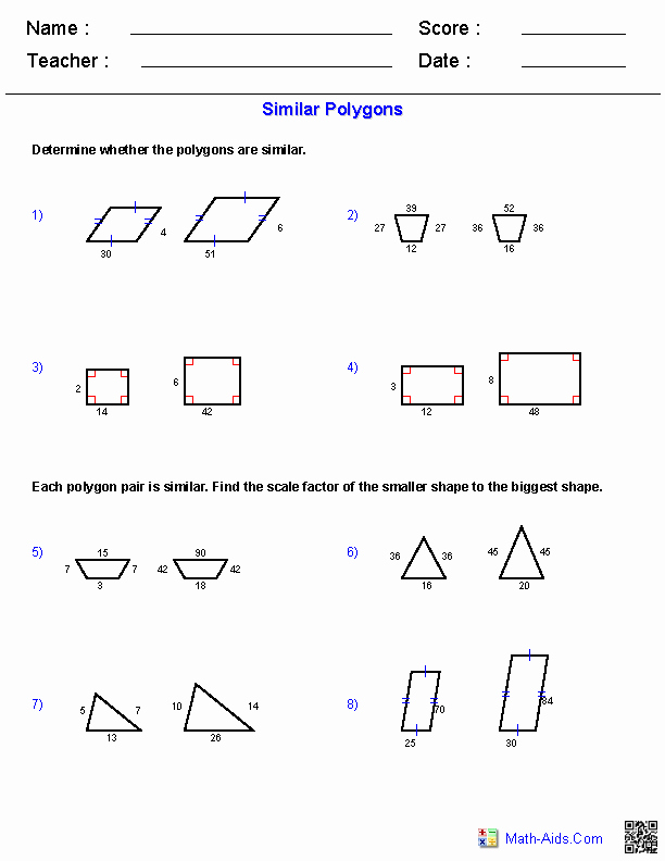 Similar Figures Worksheet Answer Key Awesome Similar Polygons Worksheets Matemáticas 8