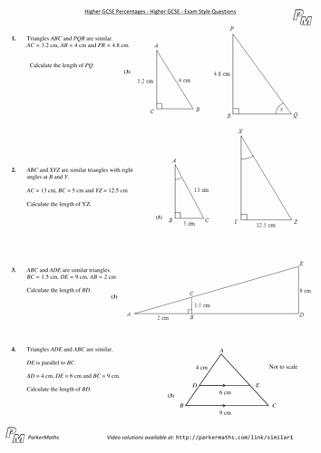 Similar Figures Worksheet Answer Key Awesome Similar Shapes Higher Gcse Exam Style Questions by