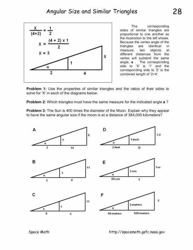 Similar Figures Worksheet Answer Key Beautiful Angular Size and Similar Triangles Worksheet for 8th