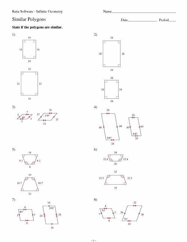 Similar Figures Worksheet Answer Key Beautiful Similar Polygons Worksheet for 10th Grade