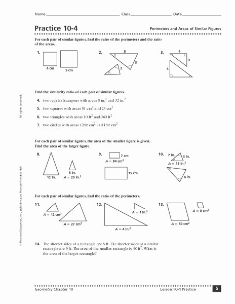 Similar Figures Worksheet Answer Key Elegant Practice 10 4 Perimeters and areas Of Similar Figures