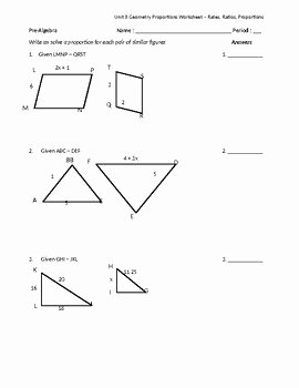 Similar Figures Worksheet Answer Key Elegant Similar Figures & Proportions Worksheet by Math is Easy as