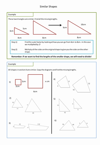 Similar Figures Worksheet Answer Key Inspirational Similar Shapes Worksheet Scale Factors by Adz1991