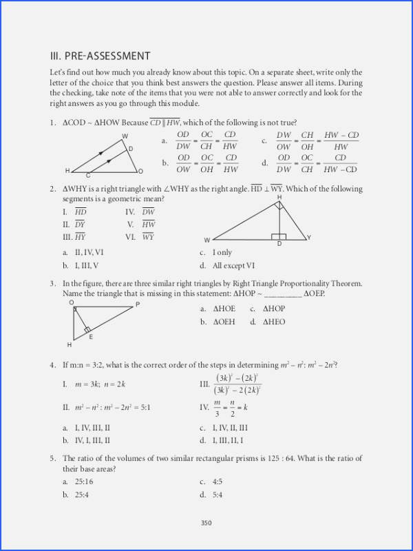 Similar Figures Worksheet Answer Key New Similar Triangles Worksheet with Answers