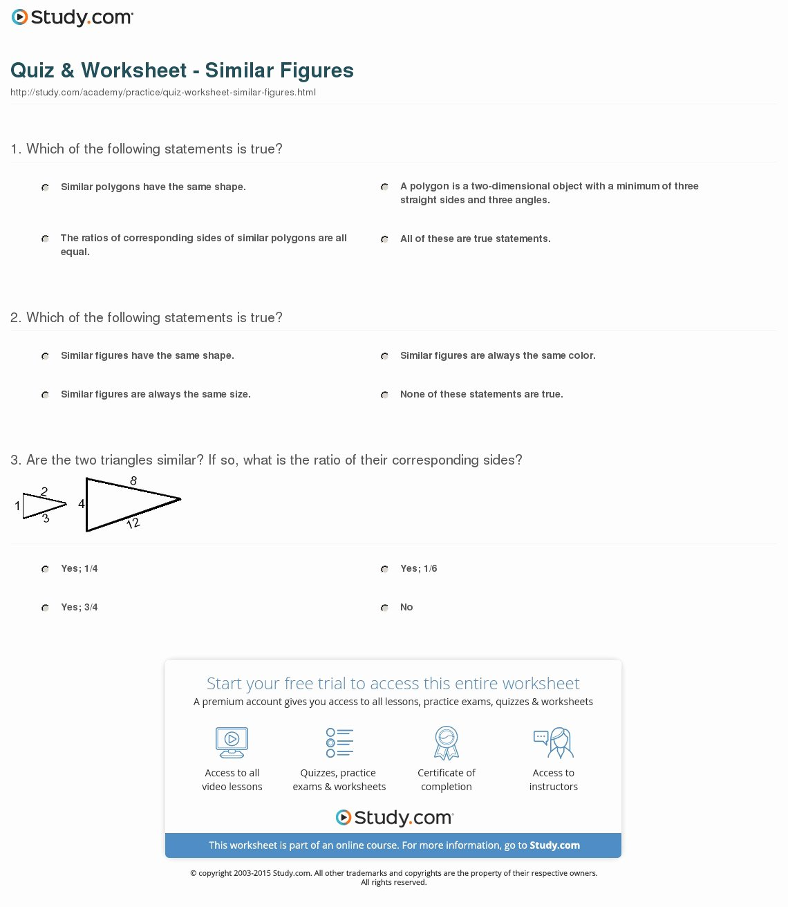 Similar Figures Worksheet Answers Inspirational Quiz & Worksheet Similar Figures
