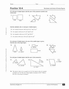 Similar Figures Worksheet Answers Lovely Practice 10 4 Perimeters and areas Of Similar Figures 10th
