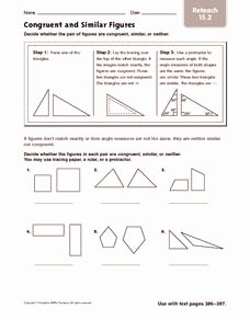Similar Figures Worksheet Answers Luxury Congruent and Similar Figures Reteach 4th 5th Grade