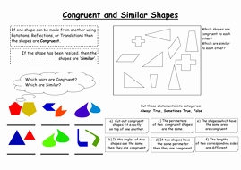 Similar Figures Worksheet Answers Unique Congruent and Similar Shapes by Ygbjammy