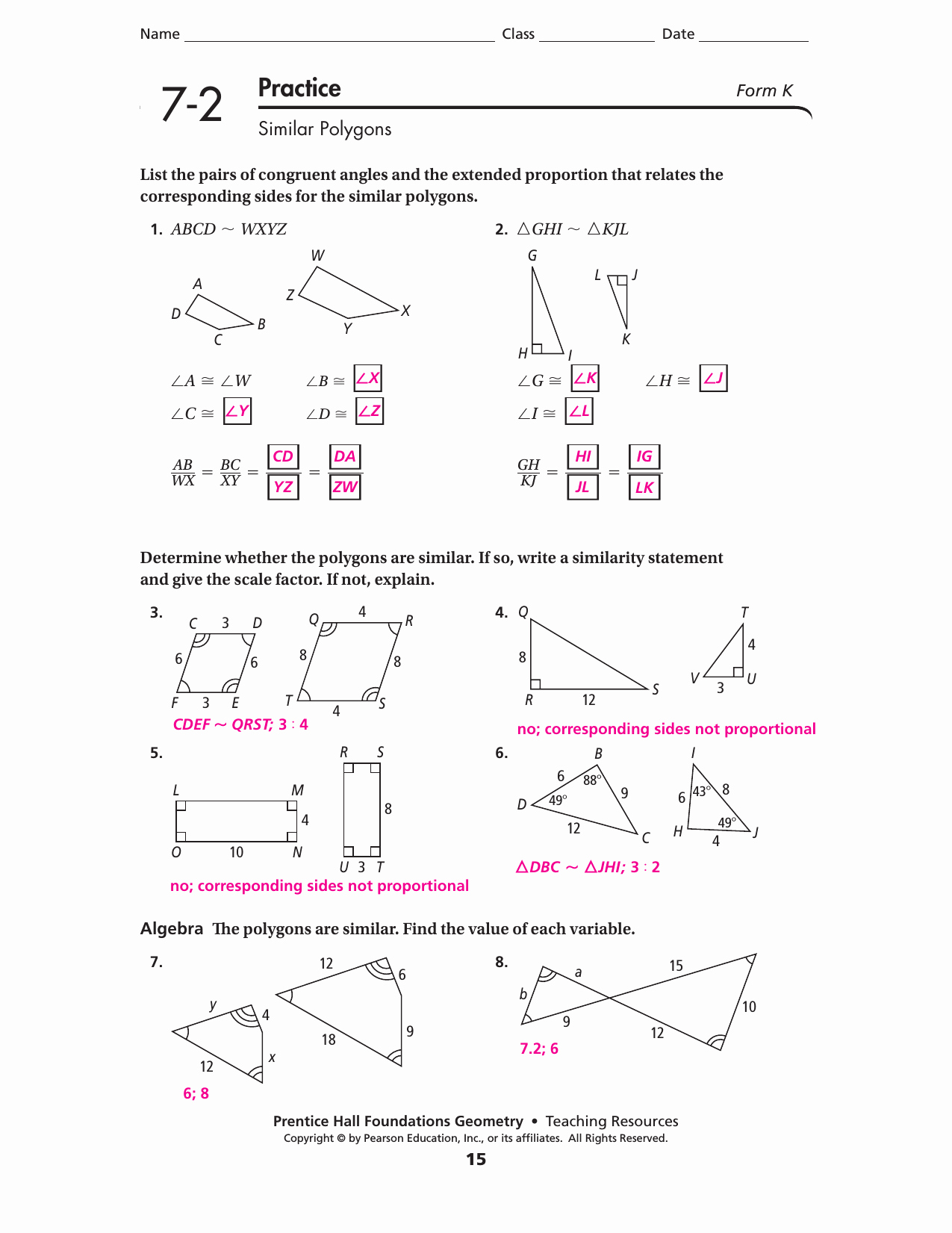 Similar Polygons Worksheet Answers Beautiful Lesson 7 2