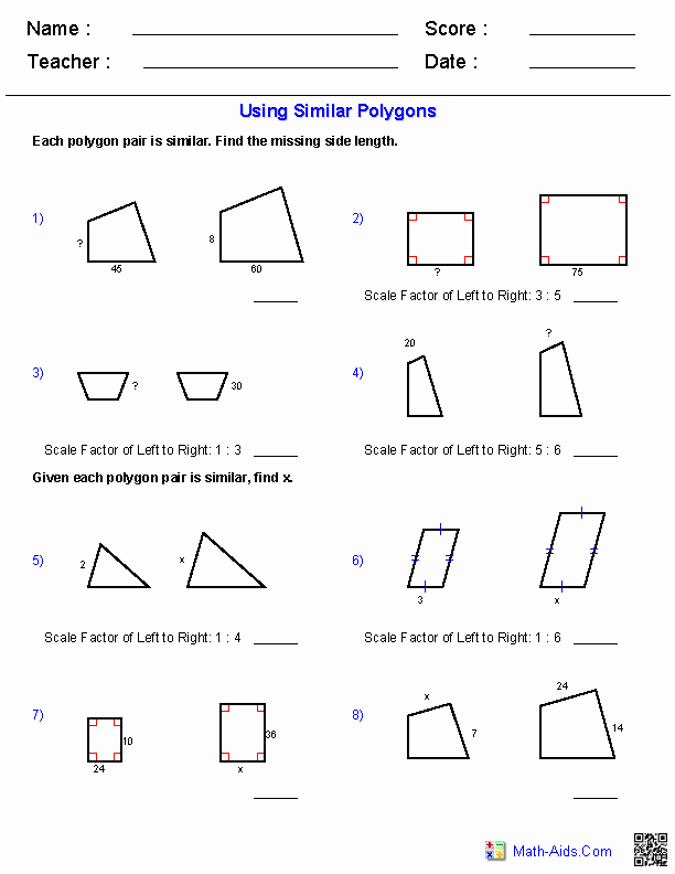 Similar Polygons Worksheet Answers New Geometry Worksheets