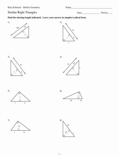 Similar Right Triangles Worksheet Beautiful 7 Similar Right Triangles Kuta software