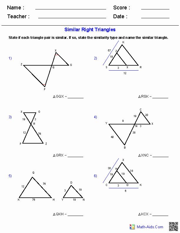 Similar Right Triangles Worksheet Best Of Geometry Worksheets