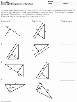 Similar Right Triangles Worksheet Unique Similar Right Triangles Partner Worksheet by Mrs E Teaches