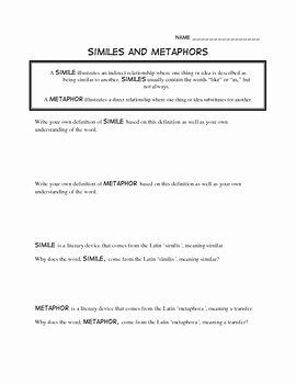 Simile and Metaphor Worksheet Awesome 17 Best Of Simile Poem Worksheets Simile