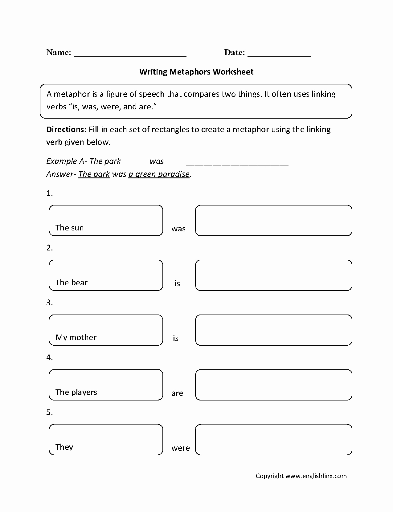 Simile and Metaphor Worksheet Awesome Englishlinx